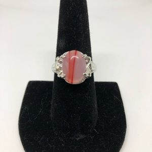 Vintage pink and silver cocktail ring